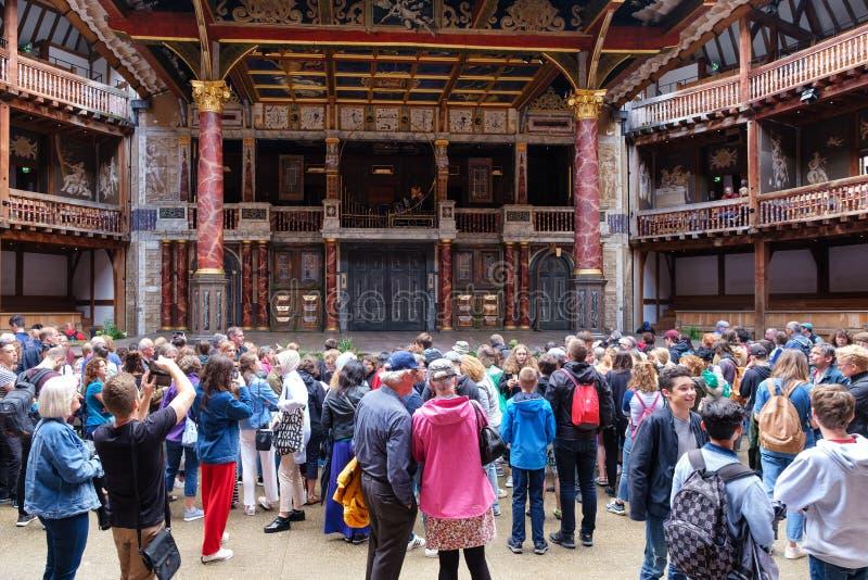 Interior of the Globe Theatre in London stock photos