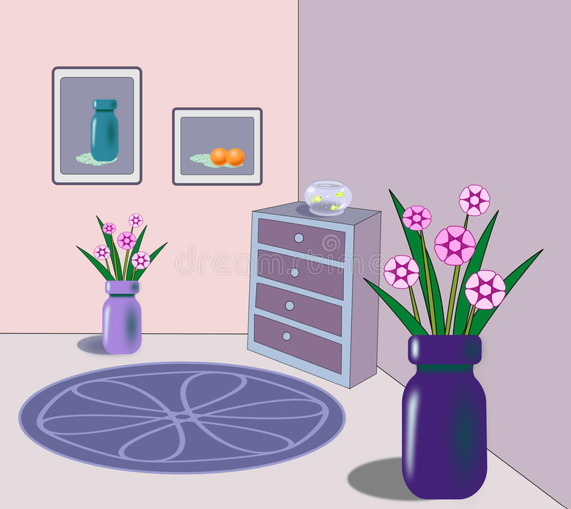Interior with goldfish bowl and flowers. A room with a commode with a goldfish bowl and vases of flowers on the floor, a round rug and frames on the wall royalty free illustration