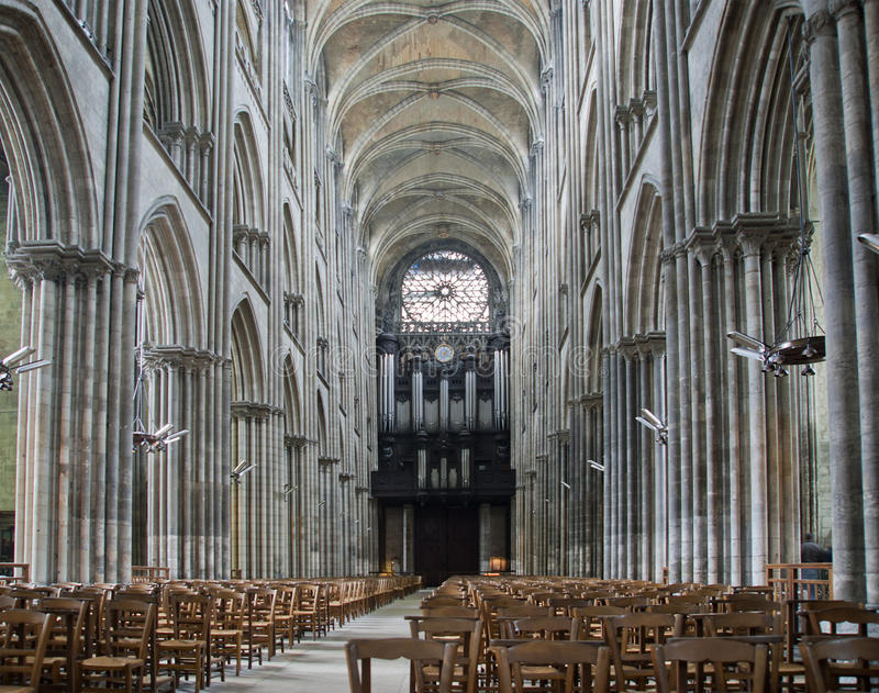 Download Interior Of The Gothic Cathedral In Rouen France Stock Photo