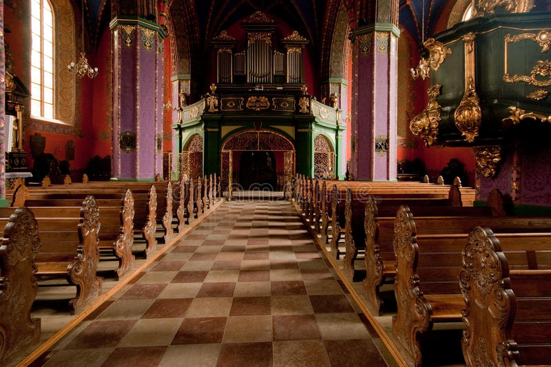 Download The Interior Of A Gothic Church, Poland. Stock Photo - Image: 12810980