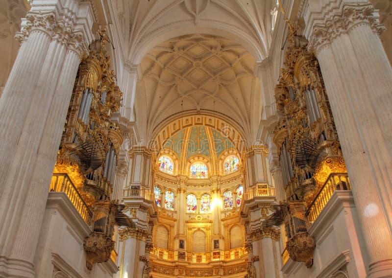 Interior of Granada Cathedral stock photo