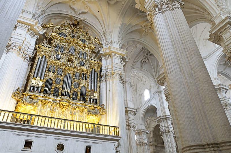 Interior of Granada cathedral, Spain stock photos