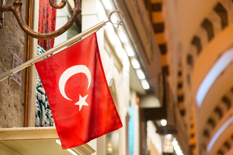 Interior of the Grand Bazaar with Turkish flag in Istanbul, Turkey.  stock images