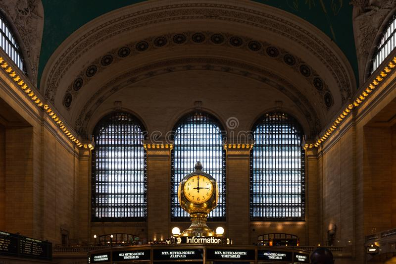 Interior of the Grand Central Station, New York City, United States. With the central clock royalty free stock photos