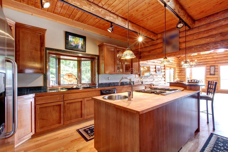 Interior Grande De La Cocina De La Cabaña De Madera. Foto de archivo ...