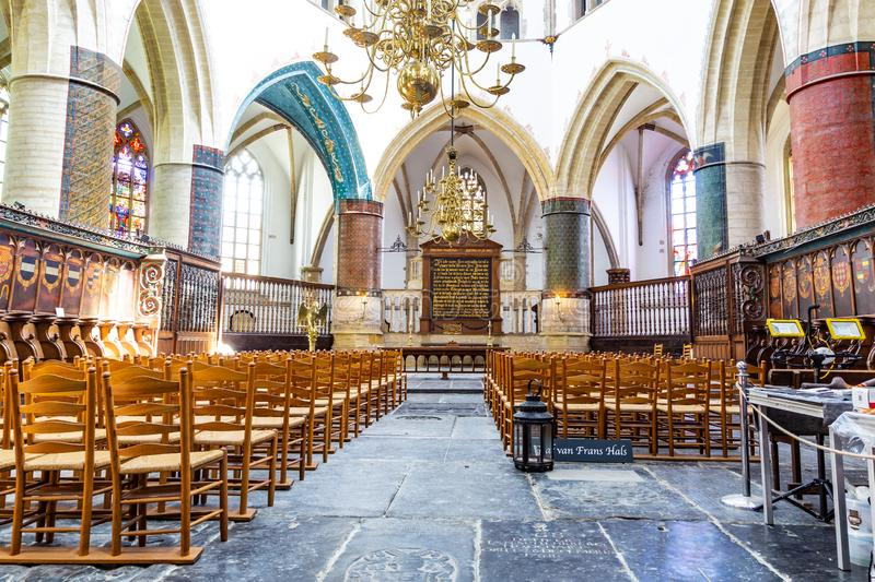 Interior with the grave of Frans Hals in the Saint Bavo Church in Haarlem in the Netherlands. Haarlem, The Netherlands - May 31, 2019: Interior Saint Bavo or stock images