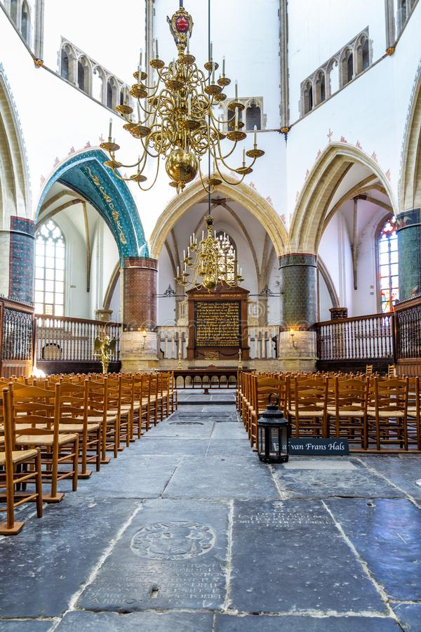 Interior with the grave of Frans Hals in the Saint Bavo Church in Haarlem in the Netherlands. Haarlem, The Netherlands - May 31, 2019: Interior Saint Bavo or stock photos