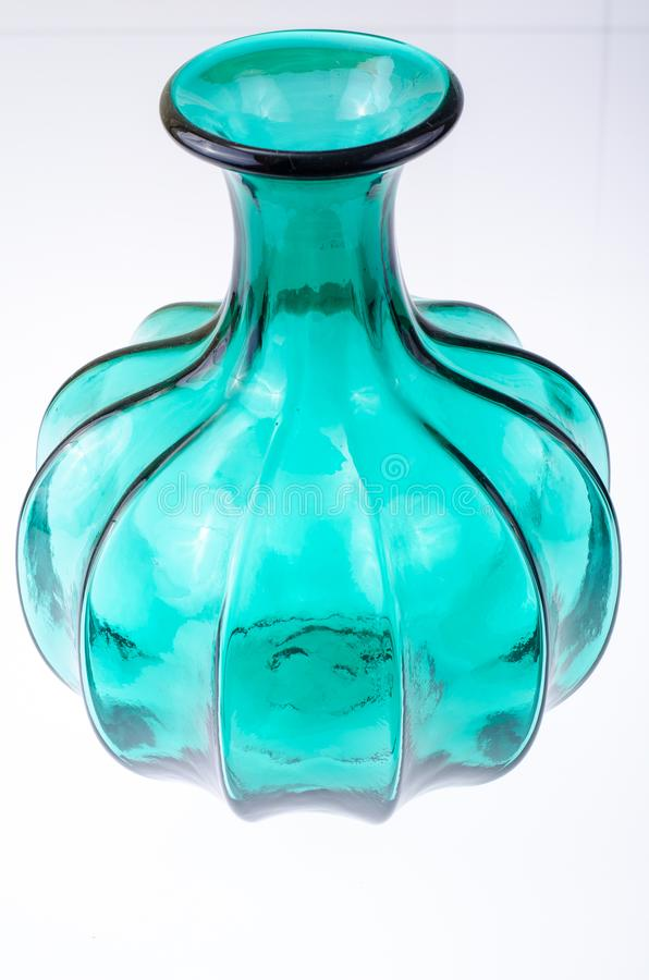 Interior green glass vase for flowers royalty free stock photos
