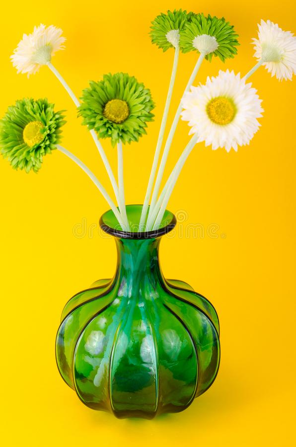 Interior green glass vase for flowers stock photography