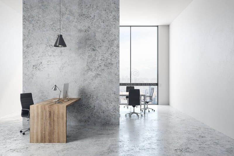 Interior gris de la oficina ilustración del vector