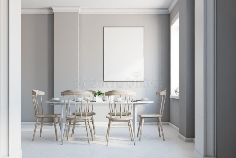 Interior gris del comedor, cartel libre illustration
