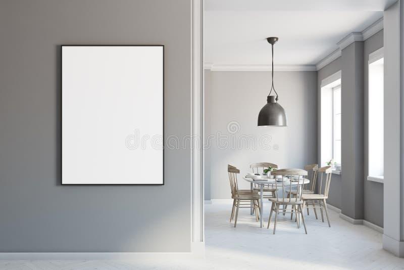 Interior gris del comedor, cartel en la pared stock de ilustración