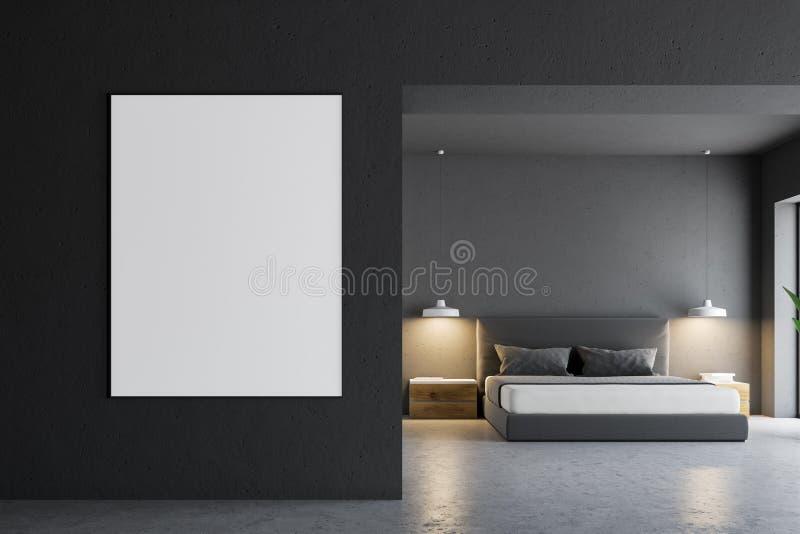 Interior gris del dormitorio, cartel ilustración del vector