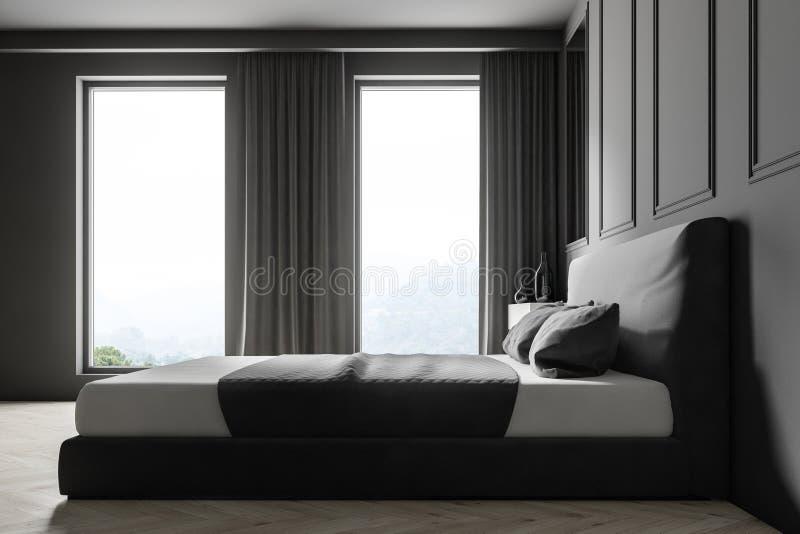 Interior gris del dormitorio de la pared ilustración del vector