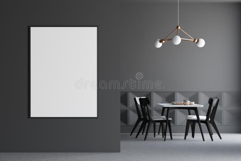 Interior gris oscuro del comedor, cartel en la pared libre illustration