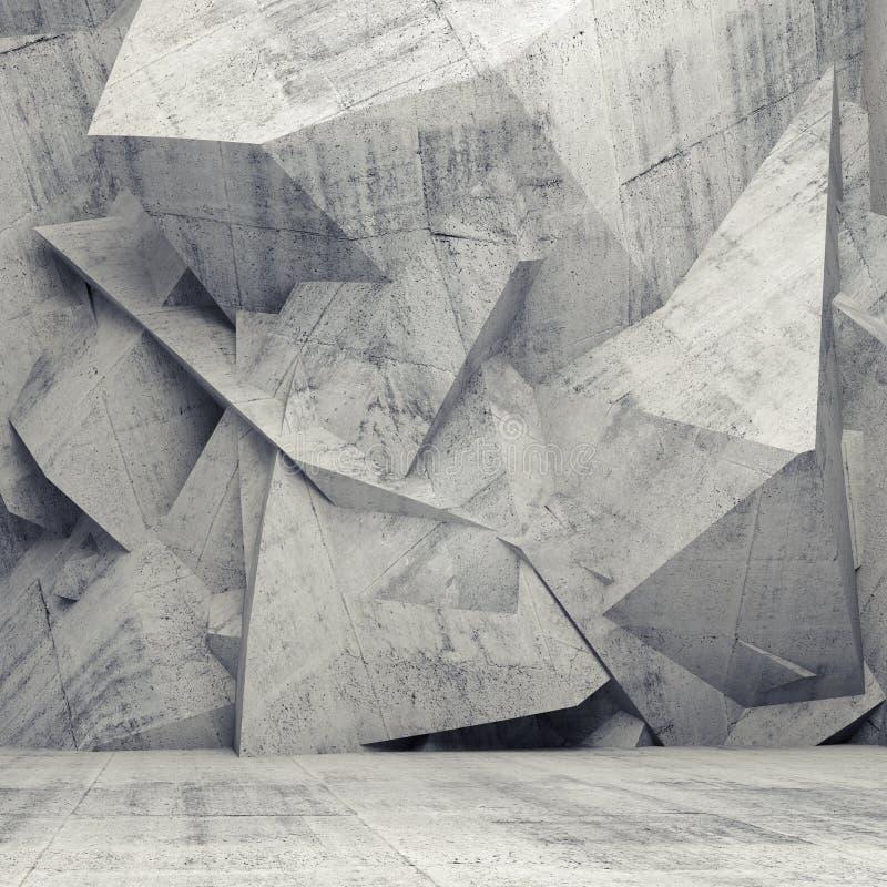 Interior gris vacío del hormigón 3d con la pared poligonal caótica libre illustration