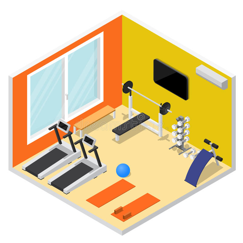 Interior Gym with Exercise Equipment Isometric View. Vector vector illustration