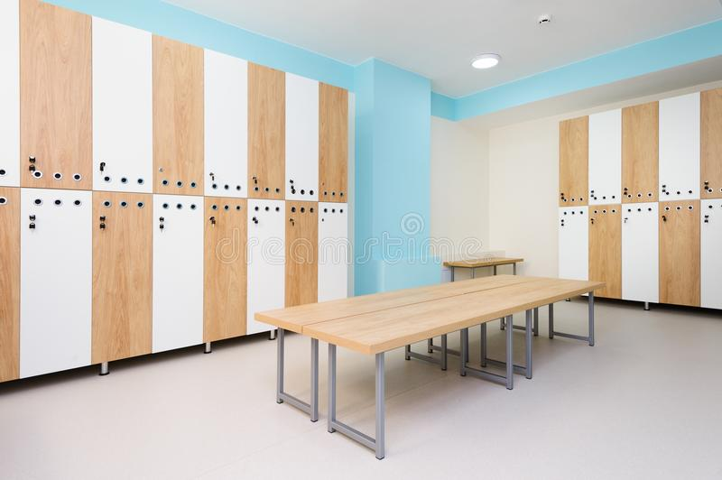 Interior of gym locker room stock photos