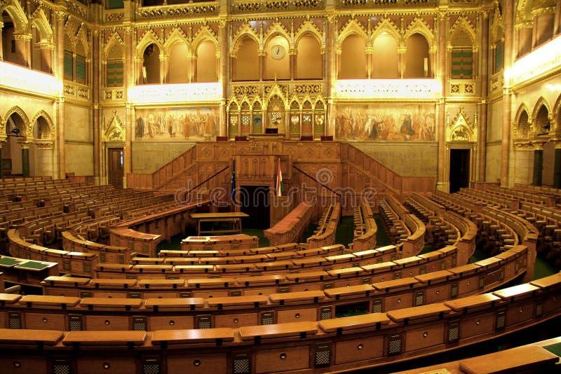 Interior húngaro del parlamento imagenes de archivo