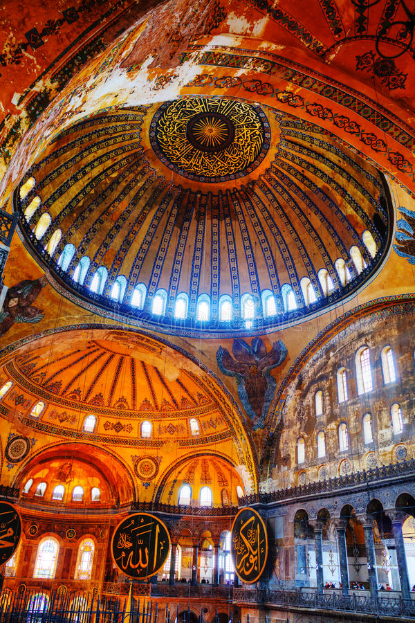 Interior of Hagia Sophia in Istanbul, Turkey royalty free stock photography