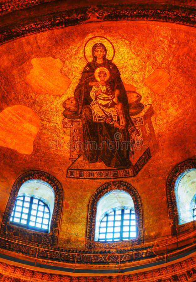 Interior of Hagia Sophia in Istanbul, Turkey early in the morning royalty free stock photo