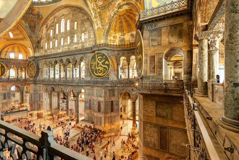 Interior of the Hagia Sophia in Istanbul, Turkey stock photography