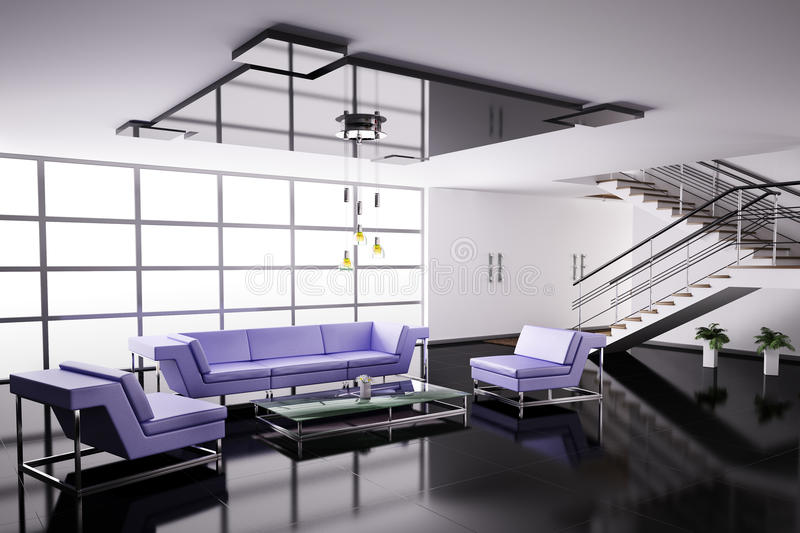 Download Interior of hall 3d stock illustration. Image of apartment - 12759154