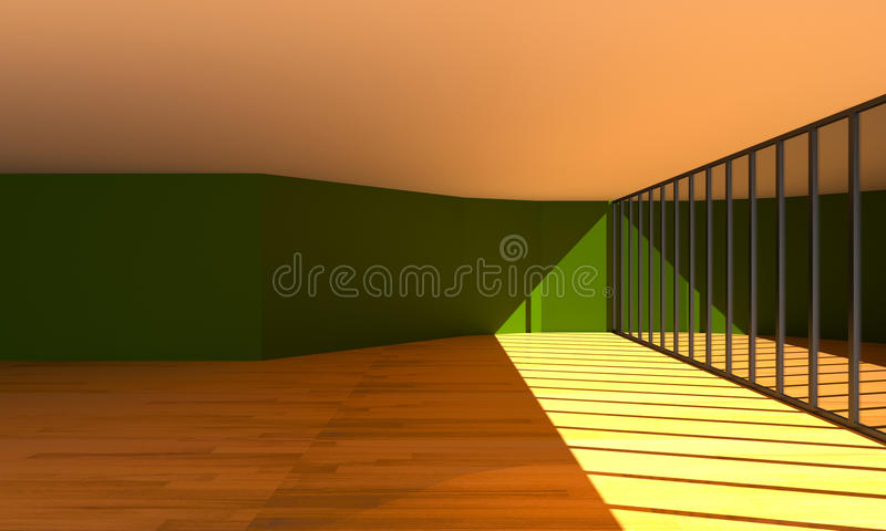 Download Interior Hall Color Green Wall Stock Illustration - Image: 43958212
