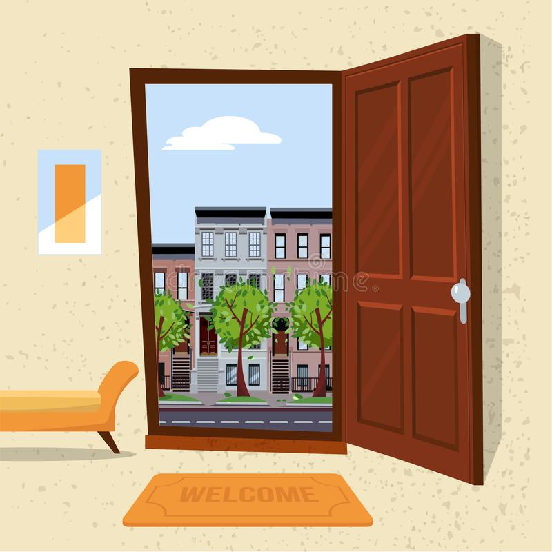 Interior of hallway with open wood door overlooking summer cityscape with houses and green trees. Furniture inside Soft bench, vector illustration