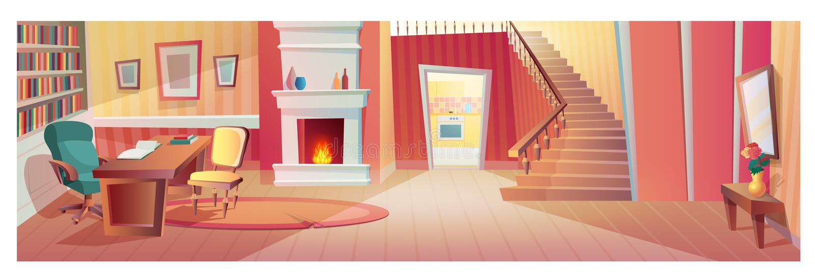 Interior of hallway of room with furniture, accessories. stock illustration