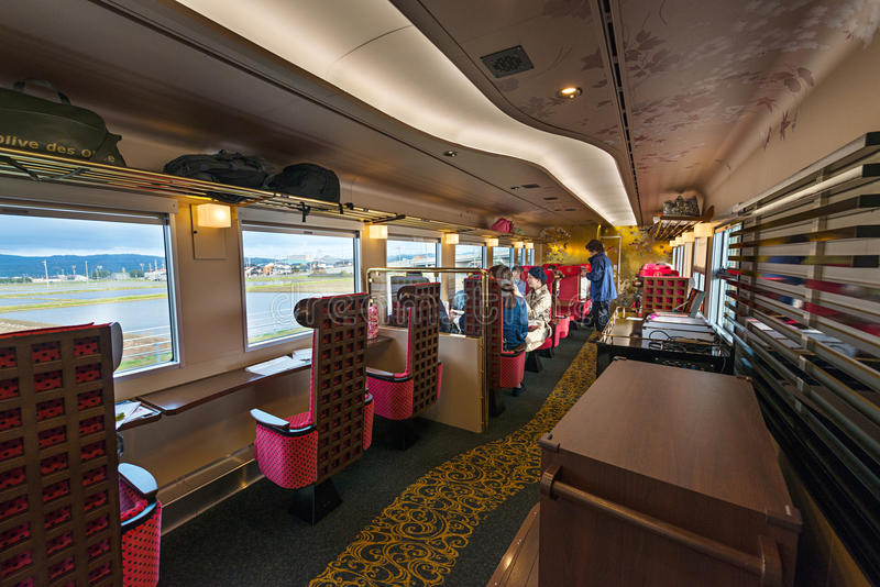 Interior of the Hanayome Noren train 2nd car. ISHIKAWA,JAPAN-APRIL 8,2016:Interior of the Hanayome Noren train. The 2nd car adopt designs often used in local royalty free stock photo