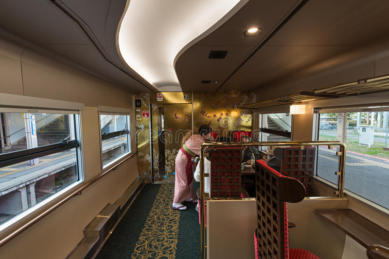 Interior of the Hanayome Noren train 2nd car. royalty free stock images