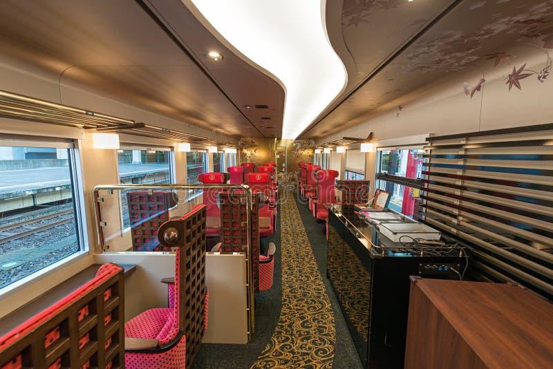 Interior of the Hanayome Noren train 2nd car. royalty free stock photo