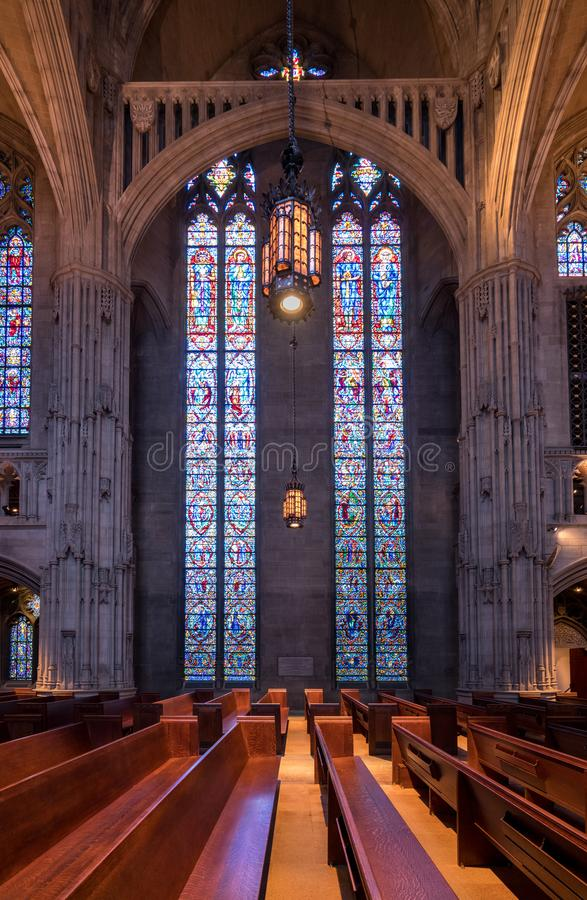 Interior of Heinz Chapel at University of Pittsburgh royalty free stock images