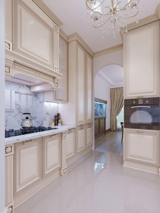 Interior hermoso de la cocina en nuevo hogar de lujo con y la vista de l libre illustration