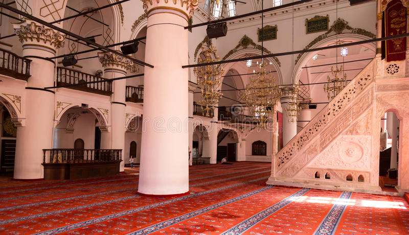 Interior of Hisar Mosque Yakup Bey Mosque, Molla Yakup Mosque Kemeralti, Izmir,Turkey. Interior of Hisar Mosque Yâkub Bey Mosque, Molla Yakup Mosque stock photos