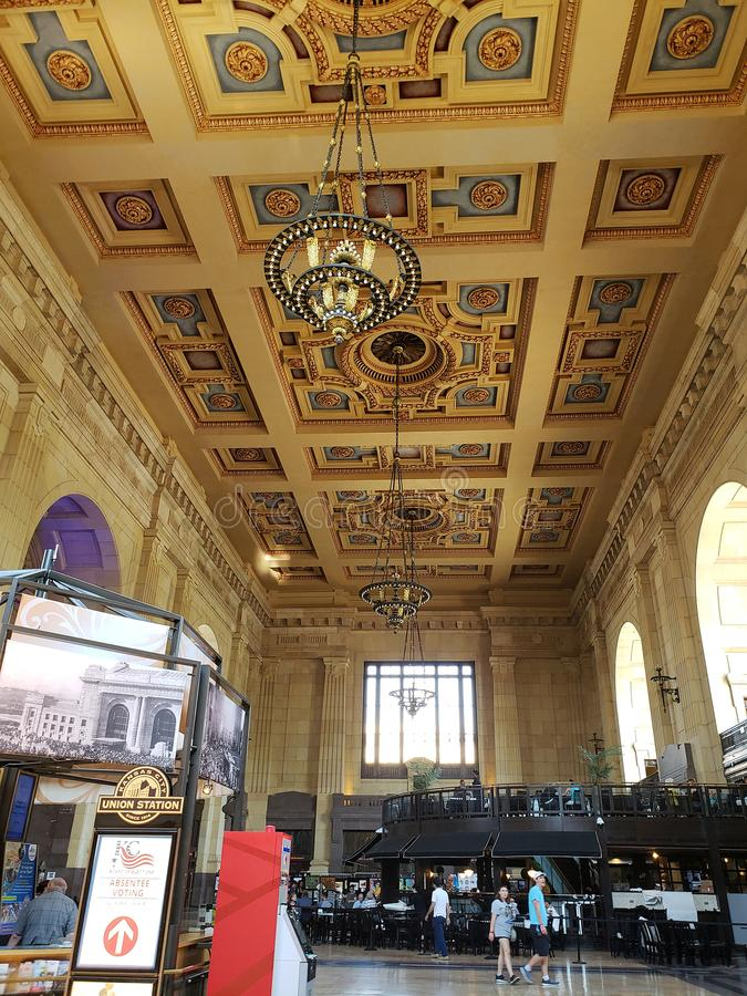 Interior of historic building Union Station Kansas royalty free stock photos