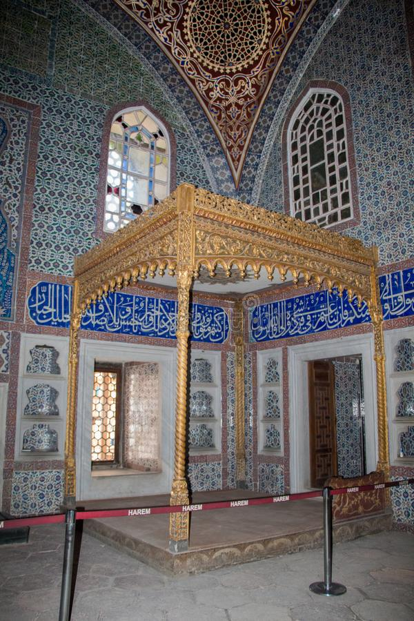 Interior of a historic Ottoman mosque on display stock photography