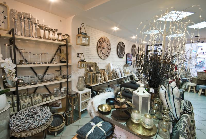 Interior of a home articles shop with Christmas decoratoins stock photo