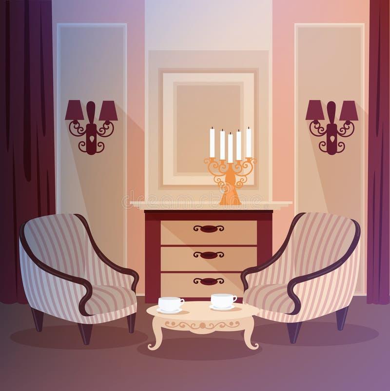Interior home clássico da sala de visitas com um castiçal ilustração do vetor