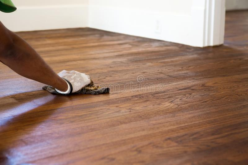 Refinish wood floors. Interior of a home. Contractor refinish wood floors stock photography