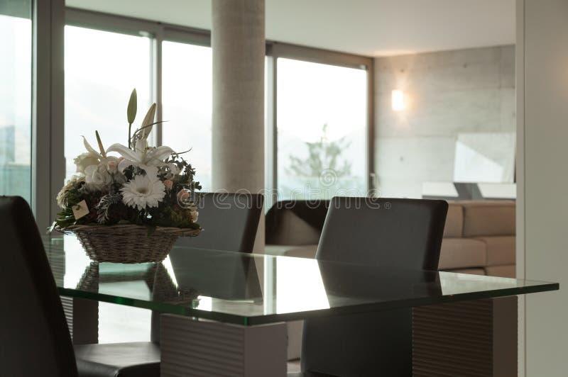 Interior home, modern dining table stock photos