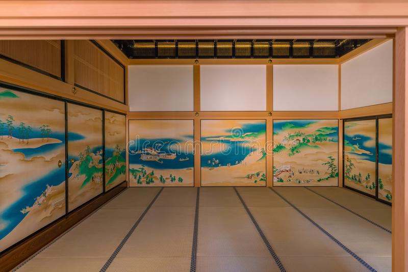 Interior of Honmaru Palace of Nagoya Castle. NAGOYA, JAPAN - APRIL 19: Interior of Honmaru Palace of Nagoya Castle on April 19, 2018 royalty free stock photos