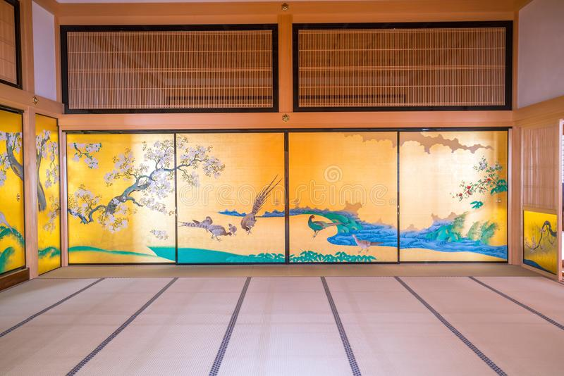 Interior of Honmaru Palace of Nagoya Castle. NAGOYA, JAPAN - APRIL 19: Interior of Honmaru Palace of Nagoya Castle on April 19, 2018 royalty free stock image