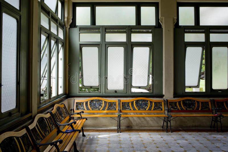 Interior of a hospitall waiting room with view on windows. Day. Interior of a hospitall waiting room with a view on windows. Day time, city life royalty free stock photo