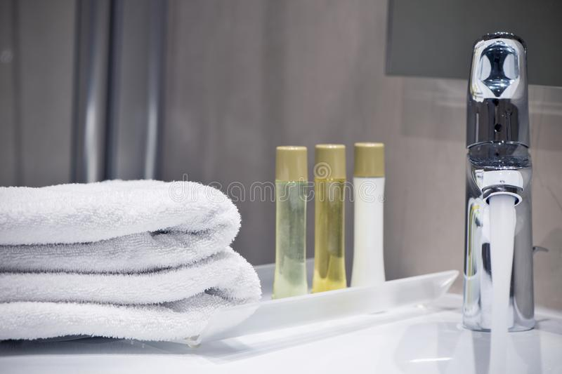 Hotel bathroom close up detail composition. Interior of a hotel bathroom close up detail composition royalty free stock photography