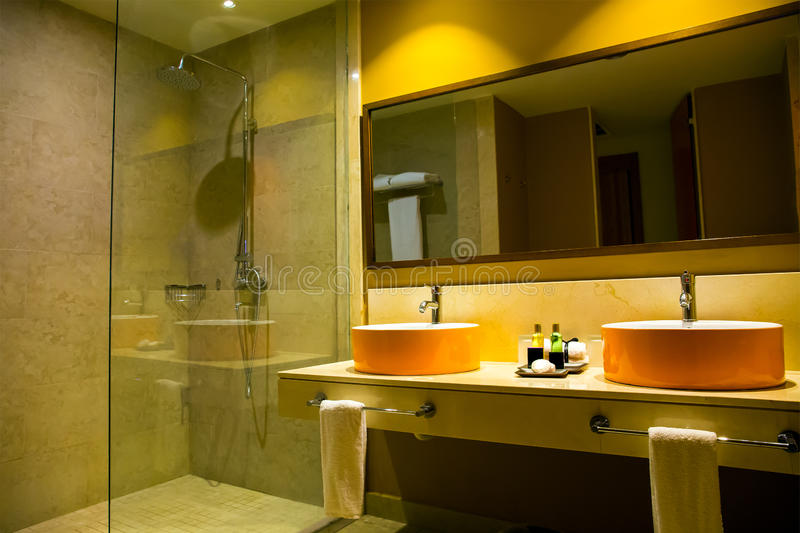 Interior of a hotel bathroom. Interior of a modern hotel bathroom royalty free stock photo
