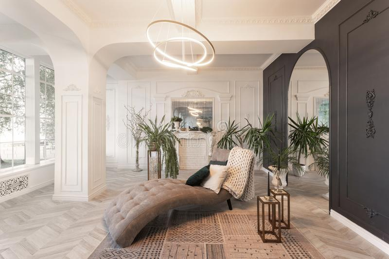 Interior in hotel. daylight in the interior and light of electric lamps. luxury living room with parquet wood floors. Morning in luxurious light interior in the royalty free stock photography