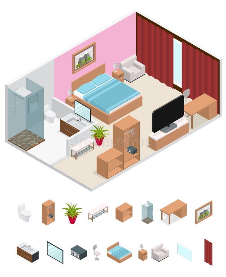 Interior Hotel Room Isometric View. Vector stock illustration