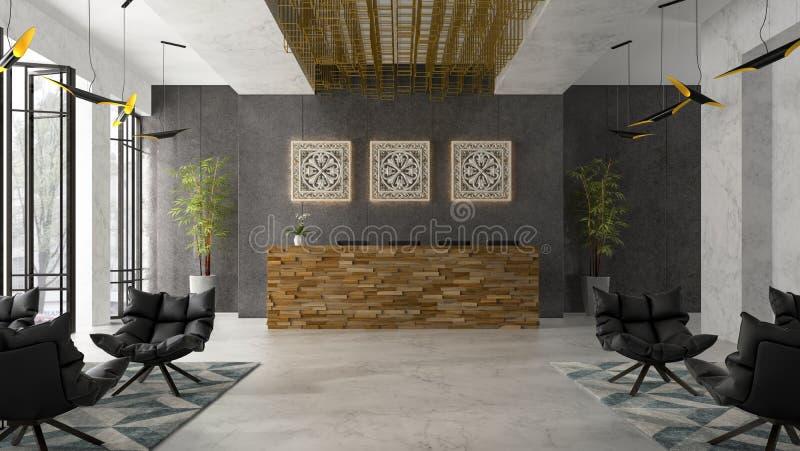Interior of a hotel spa reception 3D illustration stock illustration